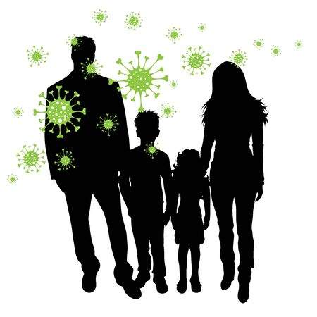 Vector silhouette of family who is spreading bacteria on white background. Symbol of disease and coronavirus.