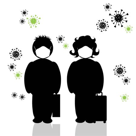 Vector silhouette of anonymous couple who travel with medical mask on white background. Symbol of healthy and sick. Danger of coronavirus.