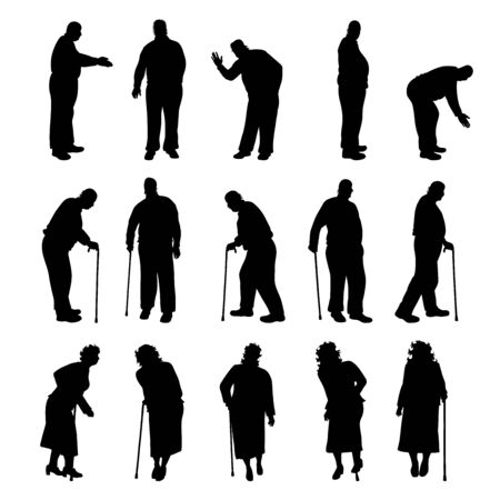 Set of vector silhouette of obese women and men on white background. Symbol of elderly lady in different pose. Imagens - 142506584