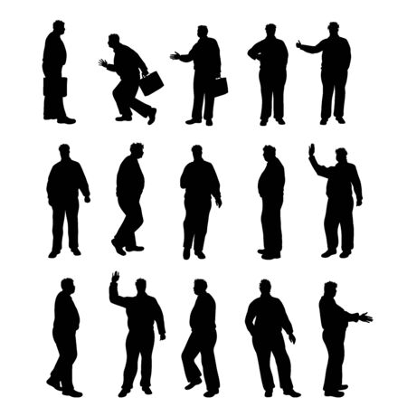 Set of vector silhouette of obese men on white background. Symbol of elderly people in different pose.