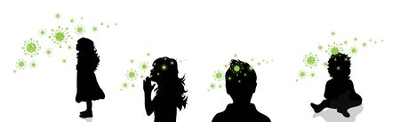 Set of vector silhouette of children spreading bacteria on white background. Symbol of disease and coronavirus.