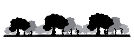 Vector silhouette of children playing under tree on white background. Symbol of nature and school. Vectores