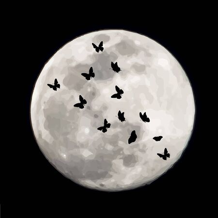 Vector silhouette of butterflies on moon background. Symbol of night. Illustration