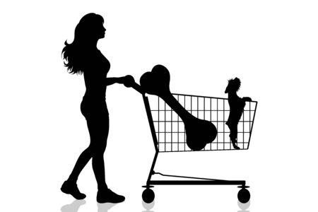 Vector silhouette of woman push shopping cart with dog and big bone on white background. Symbol of shop accessories and pets shop.