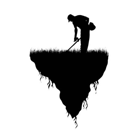 Vector silhouette of piece of land with working man with brush cutter on white background. Symbol of people and planet.