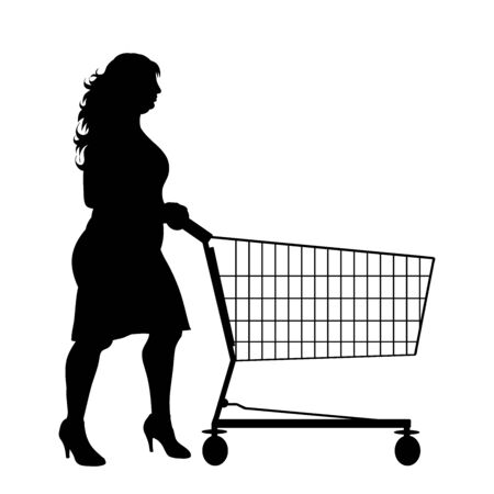 Vector silhouette of obese woman push shopping cart on white background. Symbol of shop accessories and sale. Ilustrace