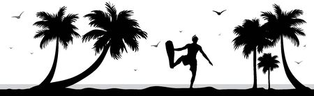 Vector silhouette of divers on palm beach on white background. Symbol of nature and sport.