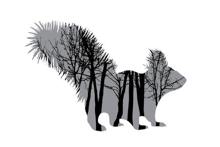 Vector silhouette of squirrel with trees on background. Symbol of forest.