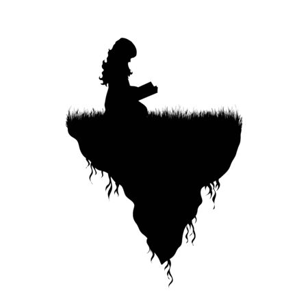 Vector silhouette of piece of land with reading child on white background. Symbol of people and planet.