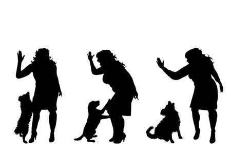 Collection of vector silhouette of anger woman with dog on white background. Symbol of animal abuse. Illustration