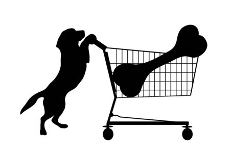 Vector silhouette of dog push shopping cart with big bone on white background. Symbol of shop accessories and pets shop.