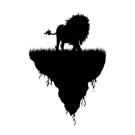 Vector silhouette of piece of land with lion on white background. Symbol of nature and planet.