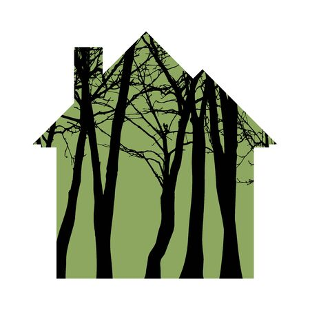 Vector silhouette of house with trees on background. Symbol of forest and nature.