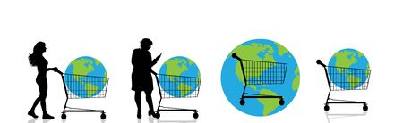 Set of vector silhouette of women push shopping cart who buy planet on white background. Symbol of shop accessories and environmental. Illustration