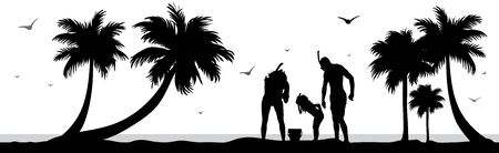 Vector silhouette of family who snorkeling on palm beach on white background. Symbol of nature and sport.