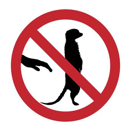 Vector silhouette of do not touch suricatta mark on white background. Symbol of prohibition. Illustration