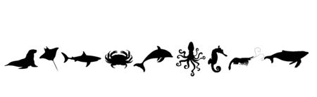 Collection of vector silhouette of water animals on white background. Symbol of nature and ocean creatures.