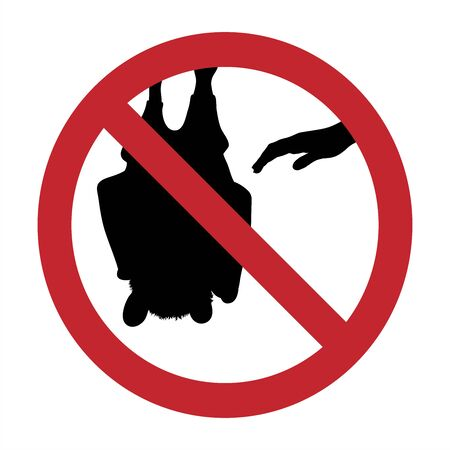 Vector silhouette of do not touch bat mark on white background. Symbol of prohibition.