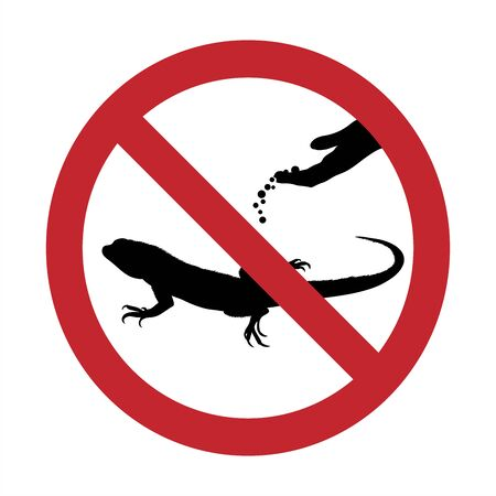 Vector silhouette of do not feeding lizard mark on white background. Symbol of prohibition.