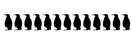 Vector silhouette of collection of penguins on white background. Symbol of Arctic animals.