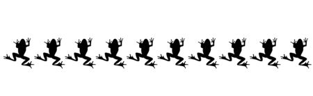 Vector silhouette of collection of frogs on white background. Symbol of lake animals.
