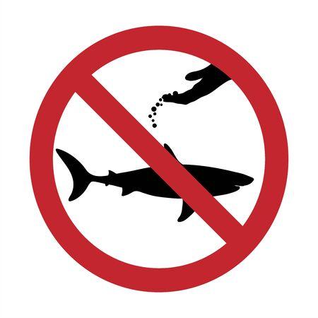 Vector silhouette of do not feeding shark mark on white background. Symbol of prohibition.