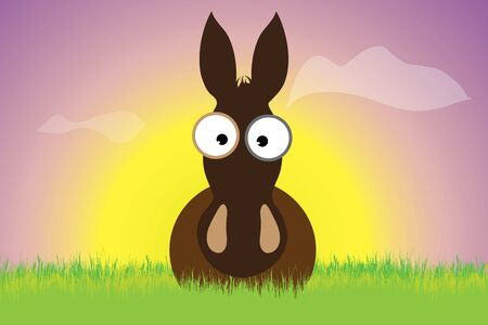 Vector silhouette of donkey staying in the grass at sunset. Symbol of animal.