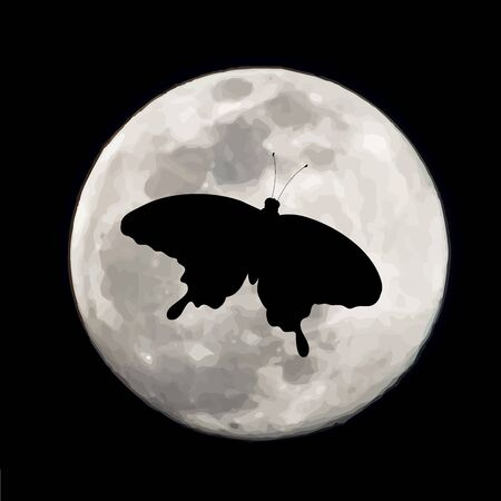 Vector silhouette of flying butterflies on moon background. Symbol of night.