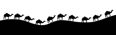Vector silhouette of walking camels on sand. Symbol of caravan in Sahara.