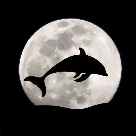 Vector silhouette of jumping dolphin on moon background. Symbol of night.