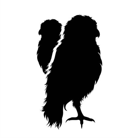 Vector silhouette of couple of owls. Symbol of forest animal.