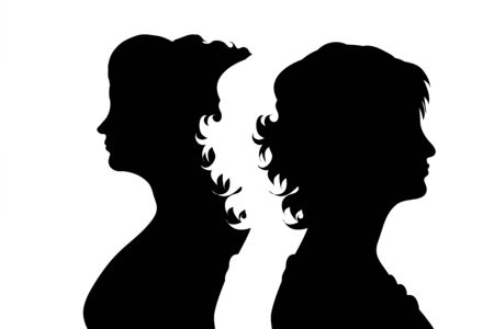 Vector silhouette of couple. Symbol of adult woman.