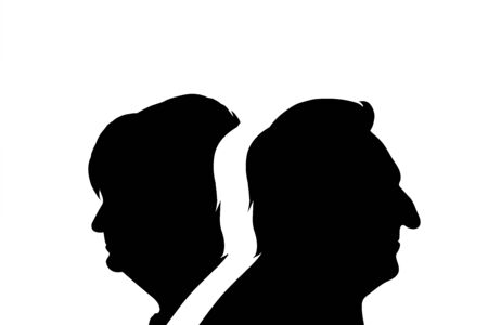 Vector silhouette of couple. Symbol of senior man and woman.  イラスト・ベクター素材