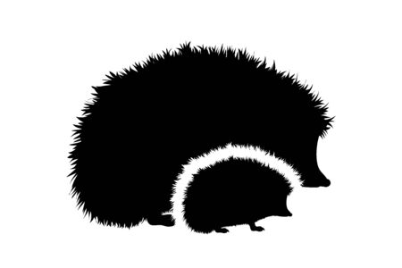 Vector silhouette of family of hedgehog. Symbol of forest animals.