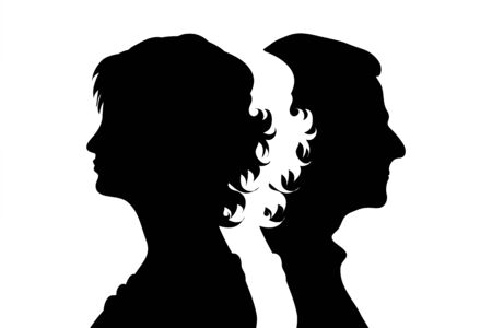 Vector silhouette of couple. Symbol of man and woman.