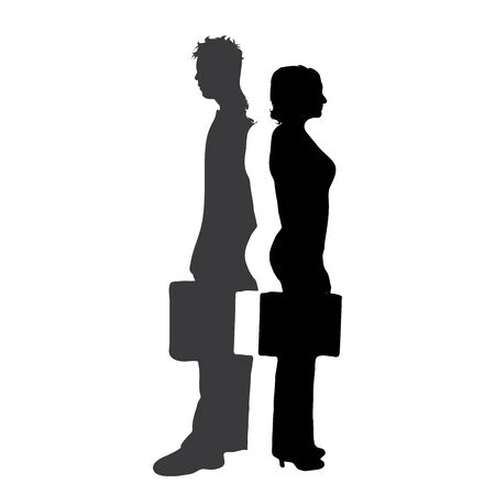 Vector silhouette of business couple. Symbol of man and woman.