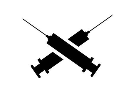 Vector illustration of cross syringes on white background. Symbol of vaccine disease.