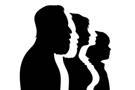 Vector silhouette of family. Symbol of people.