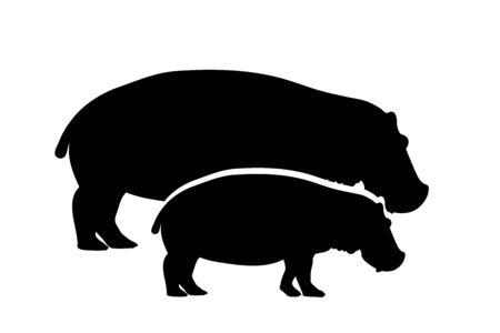 Vector silhouette of couple of hippopotamus. Symbol of wild animal.
