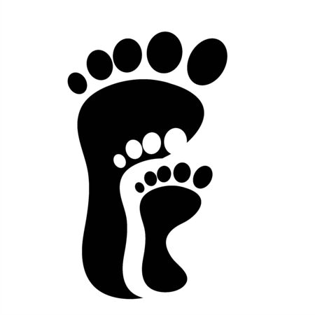 Vector silhouette of foot. Symbol of step.
