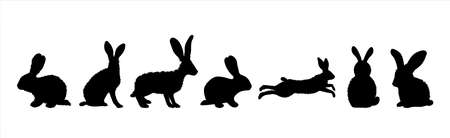 Vector silhouette of collection of rabbit on white background. Symbol of forest animal and hare. Vektorgrafik