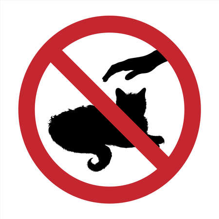 Vector silhouette of do not touch cat mark on white background. Symbol of prohibition with animal.