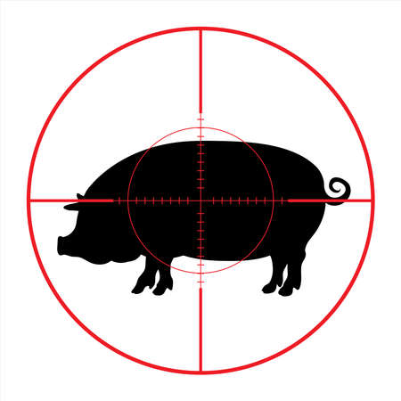 Vector silhouette of pig in rifle sight on slaughterhouse. The farm creatures in focus.