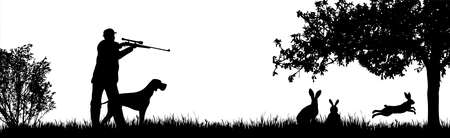 Vector silhouette of hunter with dog hunting hare in forest. Symbol of animal and nature.