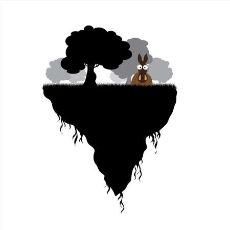 Vector silhouette of piece of land with trees and donkey on white background. Symbol of nature and planet.