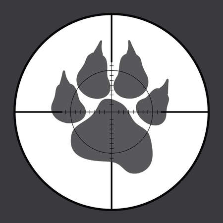 Vector silhouette of sign animal in rifle sight while hunting. The hunter watches his victim.