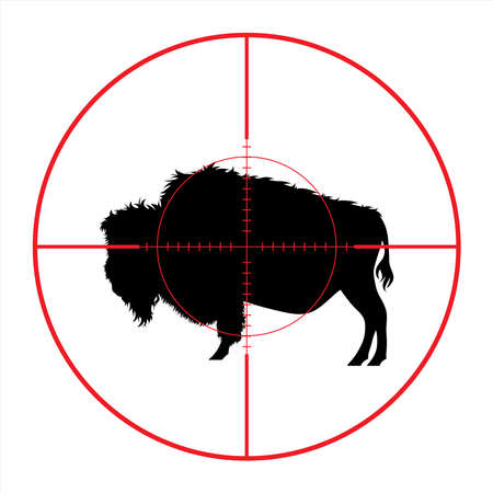 Vector silhouette of buffalo in rifle sight while hunting. The African creatures in focus.