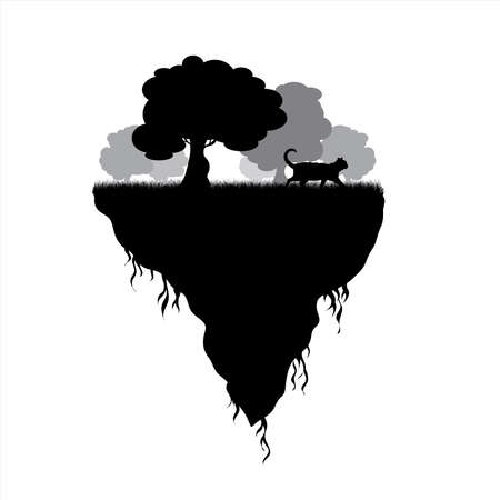 Vector silhouette of piece of land with trees and cat on white background. Symbol of nature and planet.