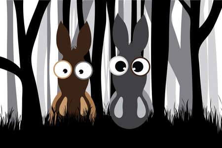 Vector silhouette of forest black and white with couple of donkeys. Symbol of animal and farm.