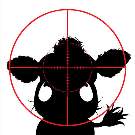 Vector silhouette of cow in rifle sight on slaughterhouse. The farm creatures in focus.